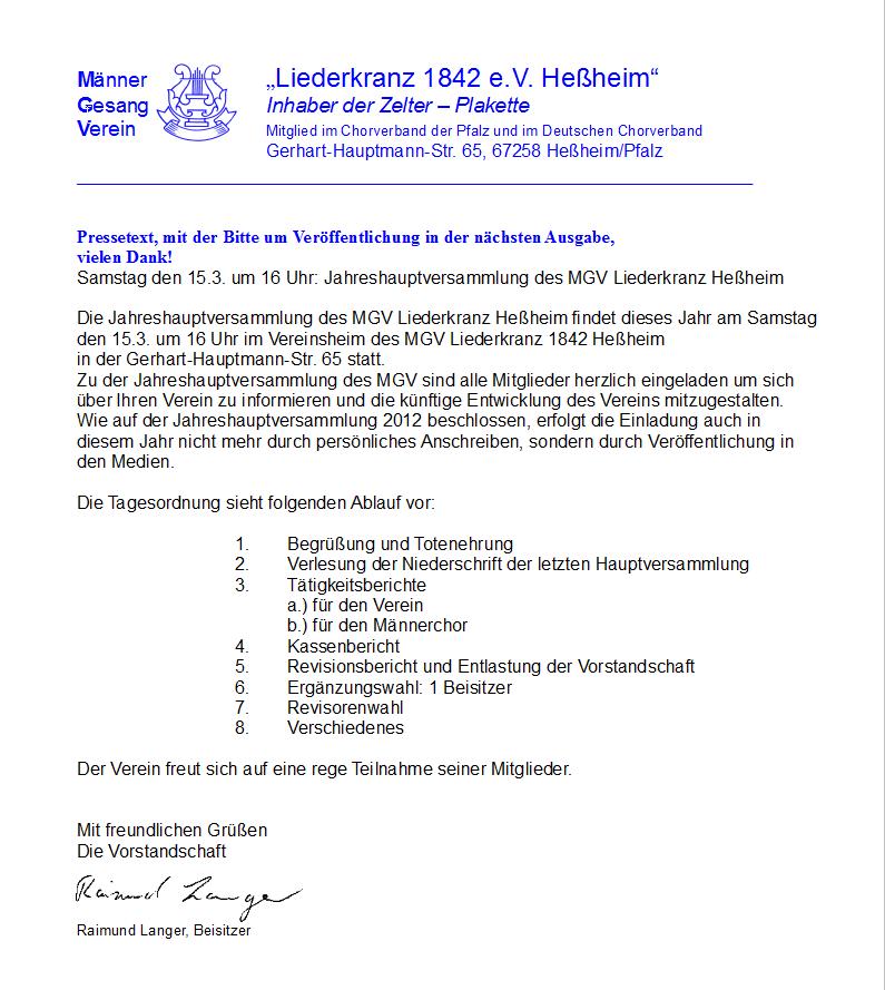 einladung zur hauptversammlung 2014 - homepage liederkranz heßheim, Einladung